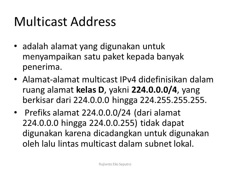 Multicast Address adalah alamat yang digunakan untuk menyampaikan satu paket kepada banyak penerima.