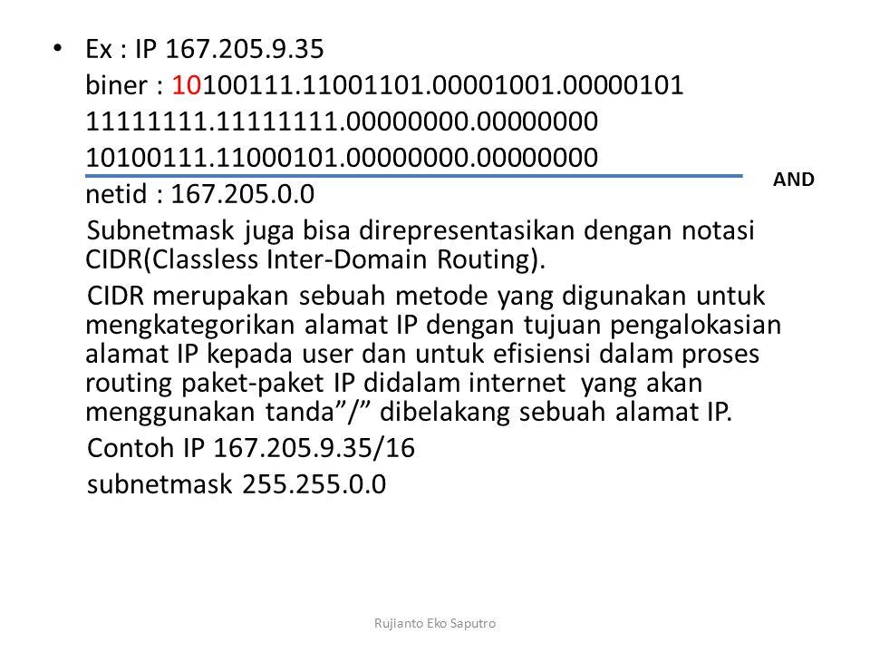 Ex : IP 167.205.9.35 biner : 10100111.11001101.00001001.00000101. 11111111.11111111.00000000.00000000.
