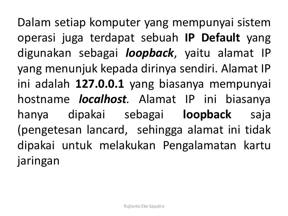 Dalam setiap komputer yang mempunyai sistem operasi juga terdapat sebuah IP Default yang digunakan sebagai loopback, yaitu alamat IP yang menunjuk kepada dirinya sendiri. Alamat IP ini adalah 127.0.0.1 yang biasanya mempunyai hostname localhost. Alamat IP ini biasanya hanya dipakai sebagai loopback saja (pengetesan lancard, sehingga alamat ini tidak dipakai untuk melakukan Pengalamatan kartu jaringan