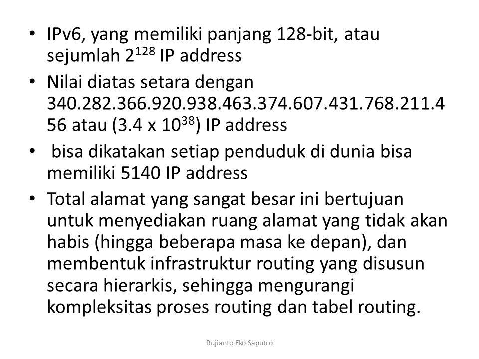 IPv6, yang memiliki panjang 128-bit, atau sejumlah 2128 IP address