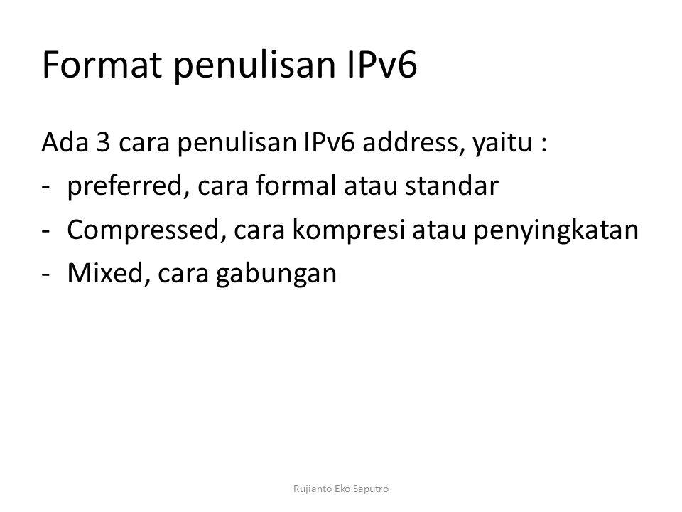 Format penulisan IPv6 Ada 3 cara penulisan IPv6 address, yaitu :