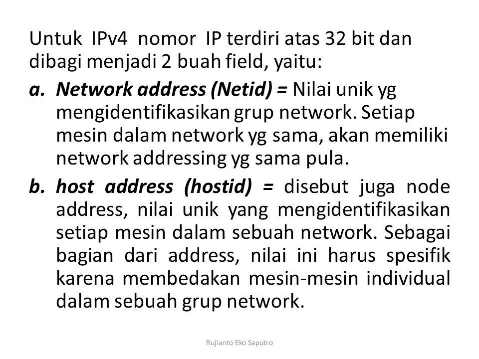 Untuk IPv4 nomor IP terdiri atas 32 bit dan dibagi menjadi 2 buah field, yaitu: