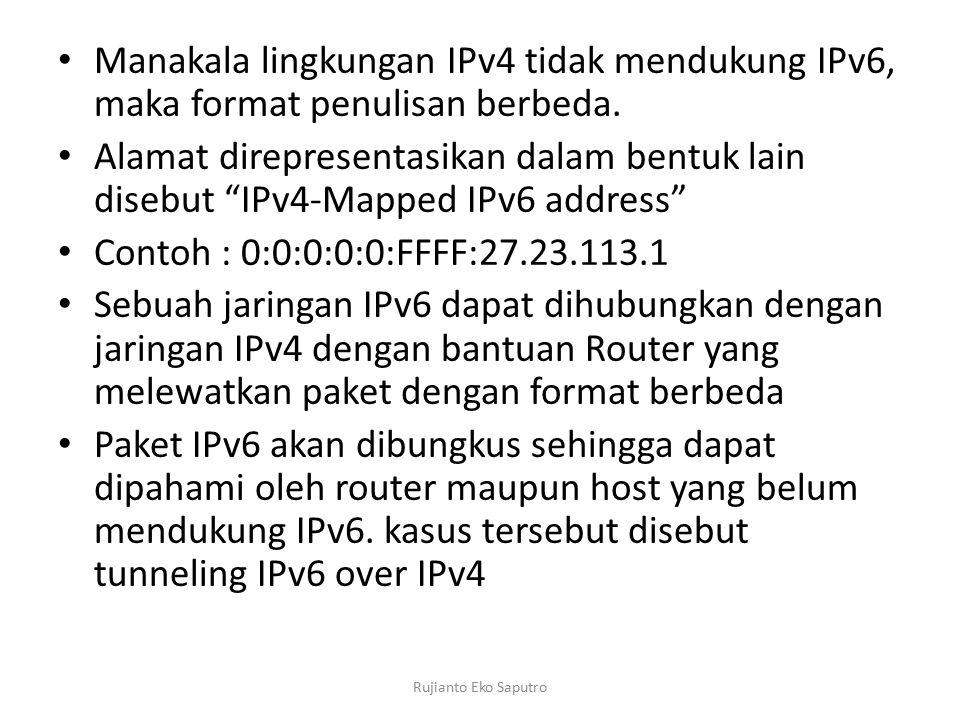 Manakala lingkungan IPv4 tidak mendukung IPv6, maka format penulisan berbeda.
