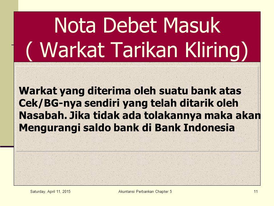 Nota Debet Masuk ( Warkat Tarikan Kliring)