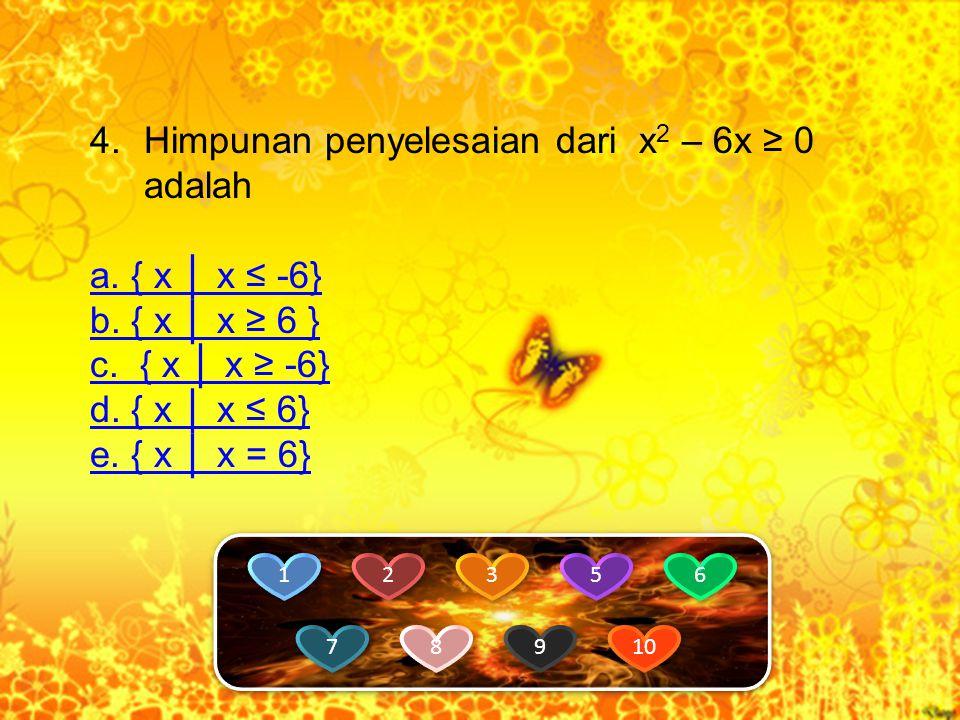 Himpunan penyelesaian dari x2 – 6x ≥ 0 adalah