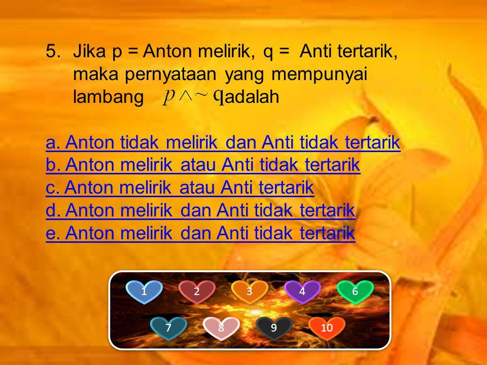 a. Anton tidak melirik dan Anti tidak tertarik