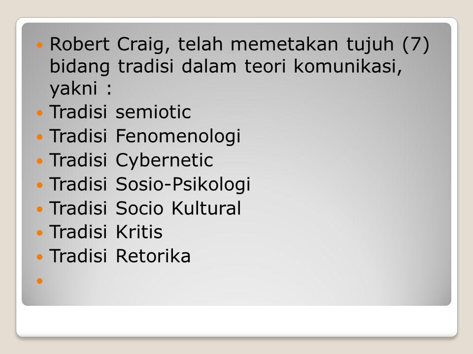 Robert Craig, telah memetakan tujuh (7) bidang tradisi dalam teori komunikasi, yakni :