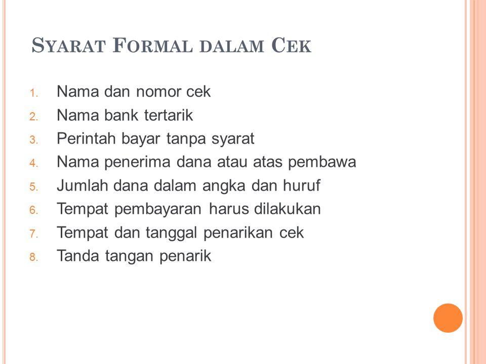 Syarat Formal dalam Cek