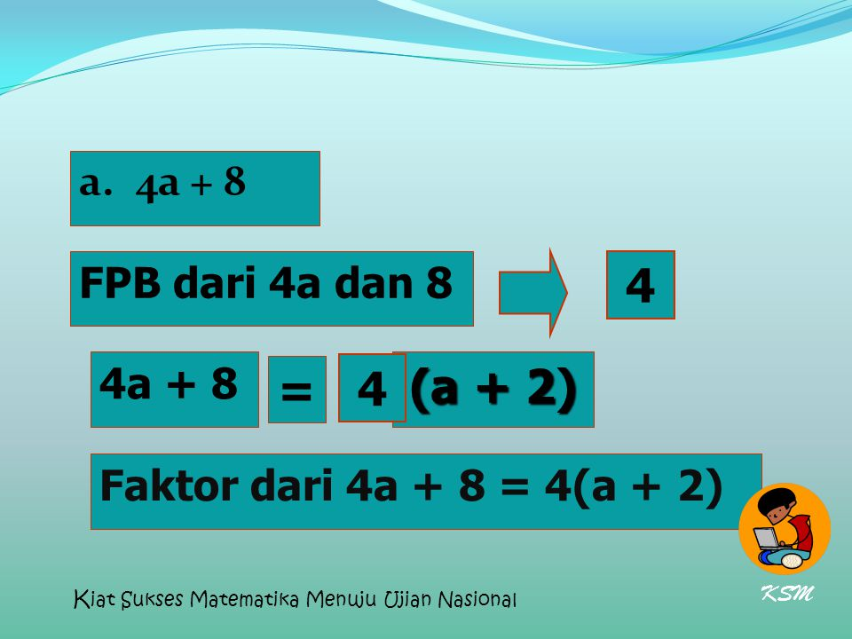 4 (a + 2) = 4 4a + 8 FPB dari 4a dan 8 4a + 8