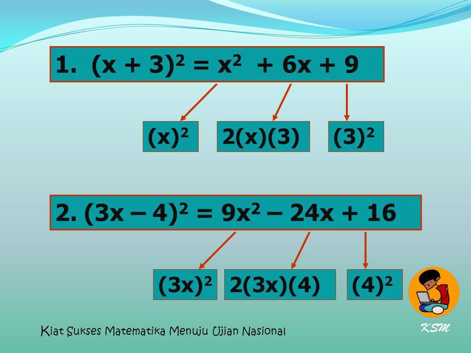 (x + 3)2 = x2 + 6x + 9 2. (3x – 4)2 = 9x2 – 24x + 16 (x)2 2(x)(3) (3)2