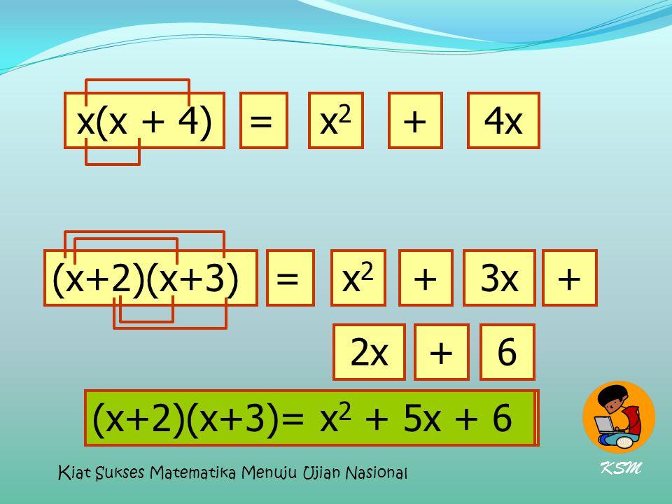 x(x + 4) = x2 + 4x (x+2)(x+3) = x2 + 3x + 2x + 6