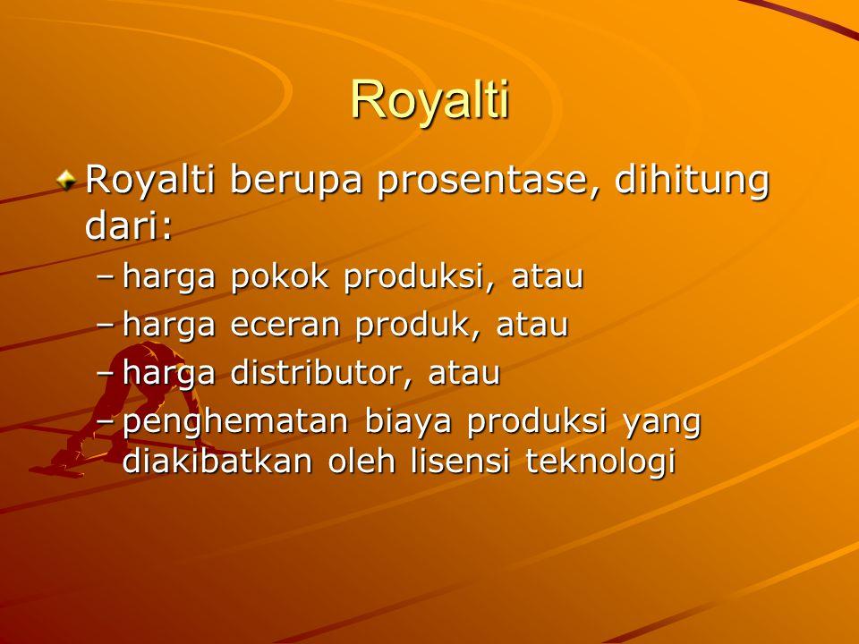 Royalti Royalti berupa prosentase, dihitung dari: