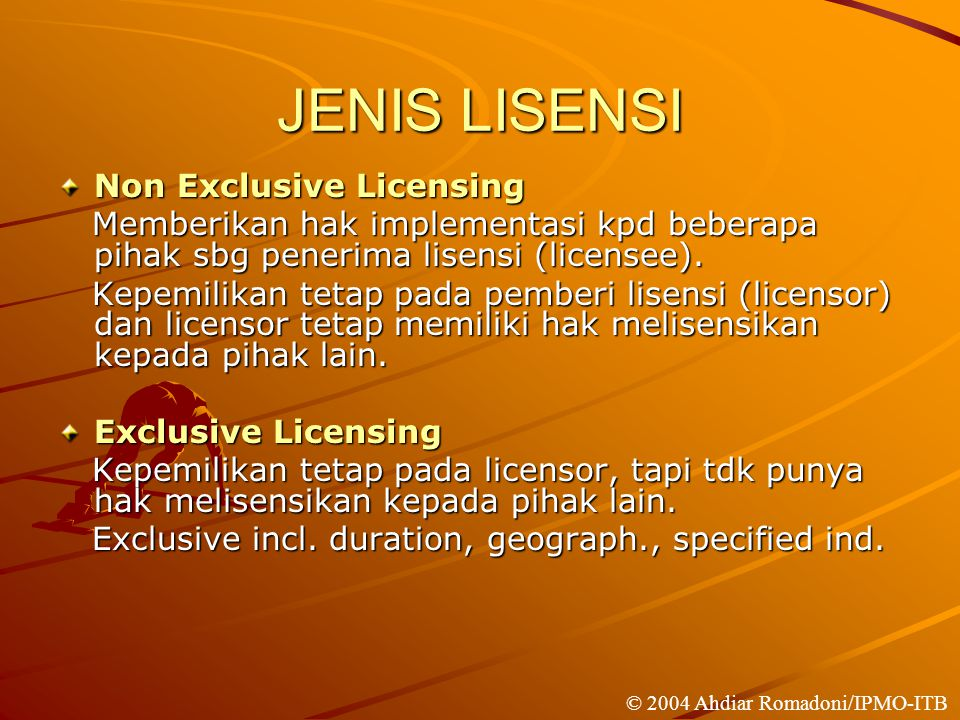JENIS LISENSI Non Exclusive Licensing
