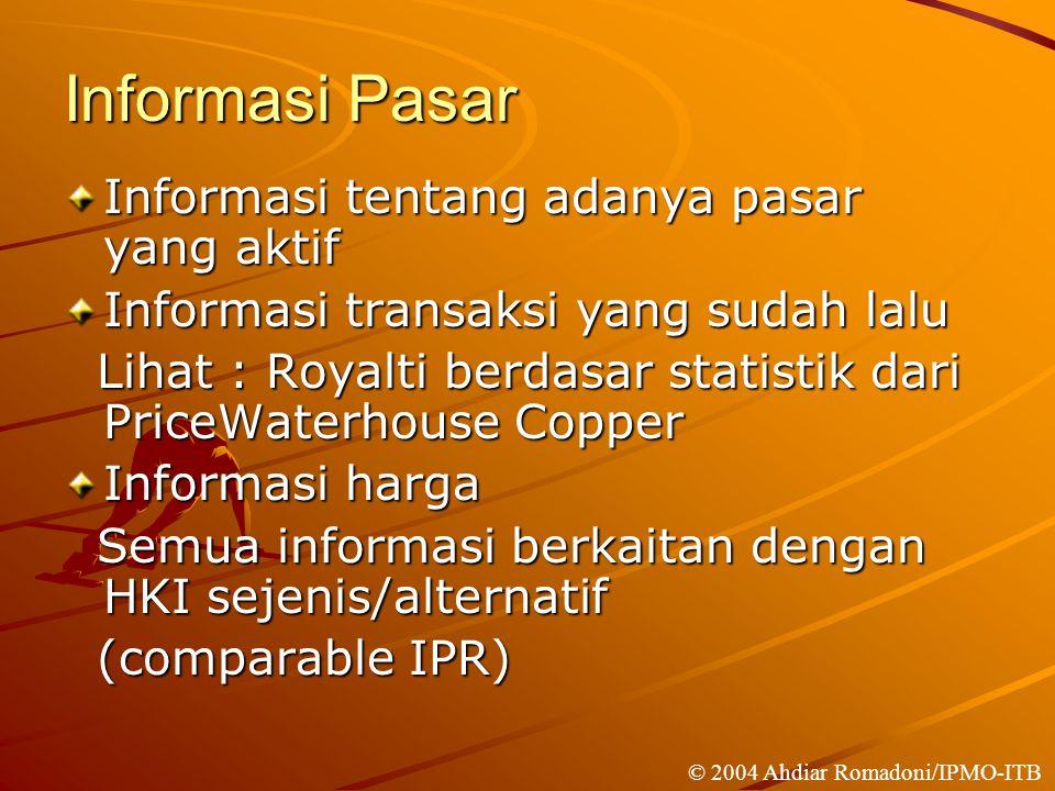 Informasi Pasar Informasi tentang adanya pasar yang aktif
