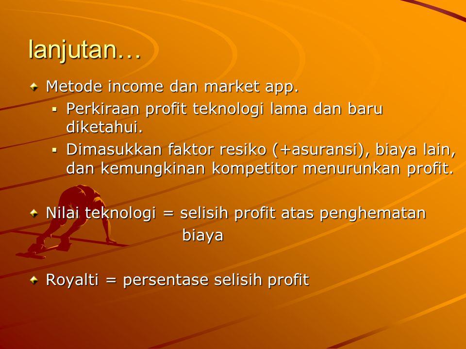 lanjutan… Metode income dan market app.
