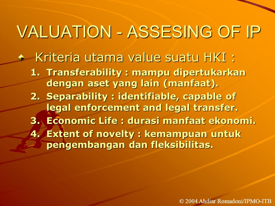 VALUATION - ASSESING OF IP