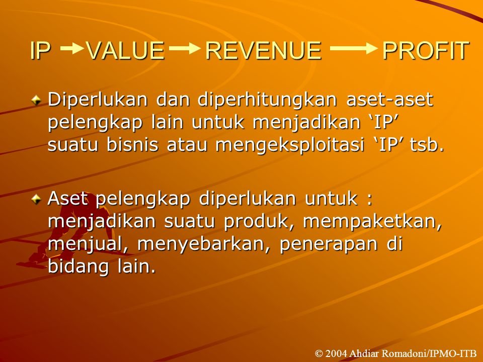 IP VALUE REVENUE PROFIT