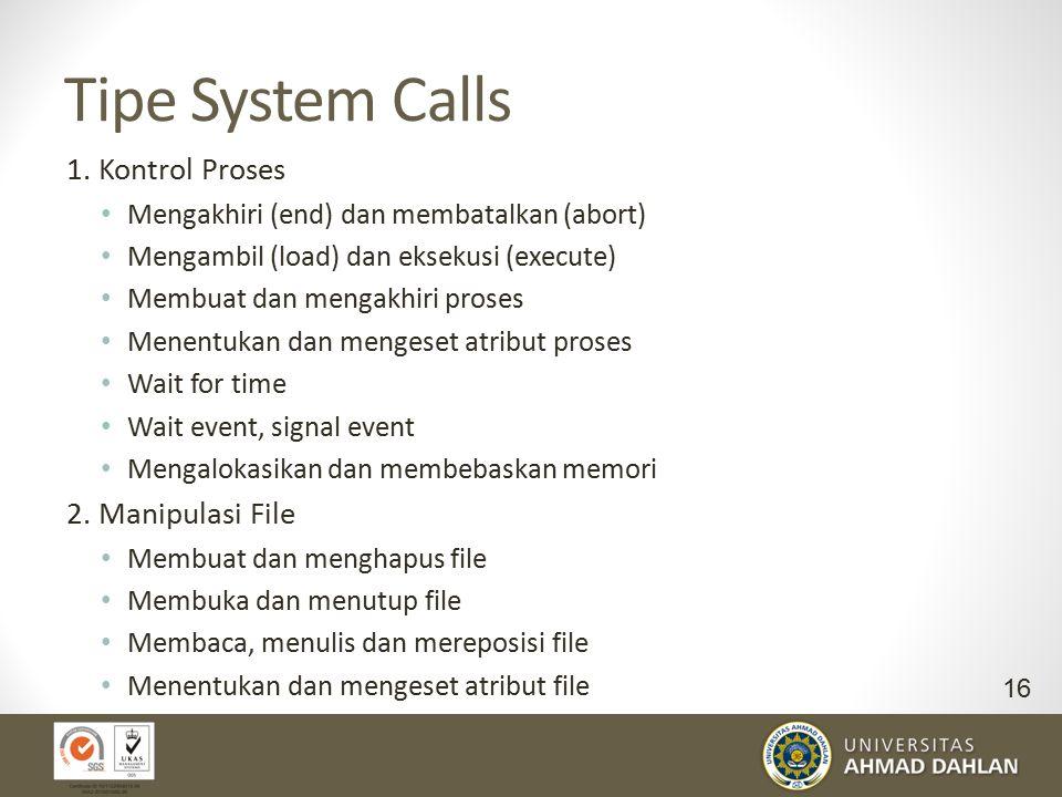 Tipe System Calls 1. Kontrol Proses 2. Manipulasi File