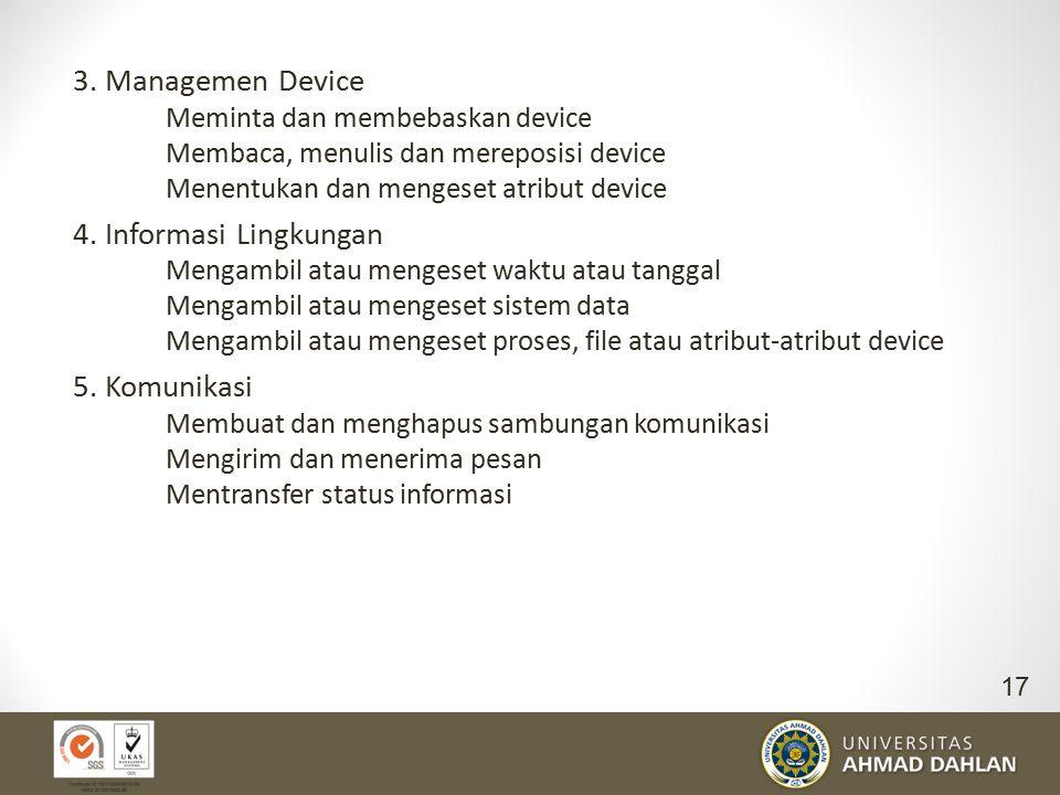 3. Managemen Device 4. Informasi Lingkungan 5. Komunikasi