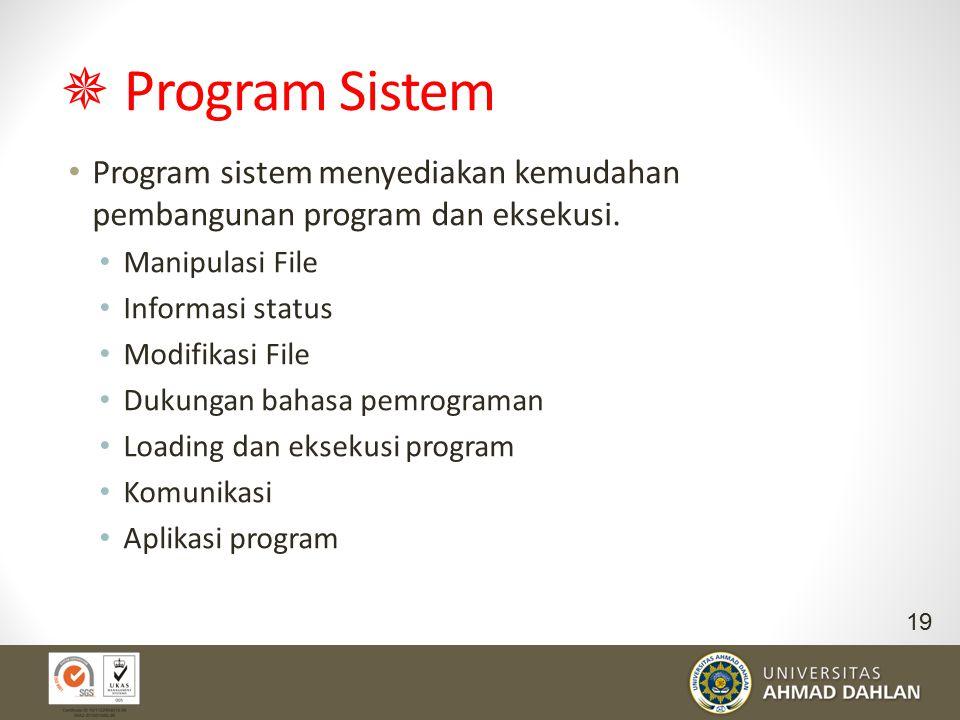  Program Sistem Program sistem menyediakan kemudahan pembangunan program dan eksekusi. Manipulasi File.