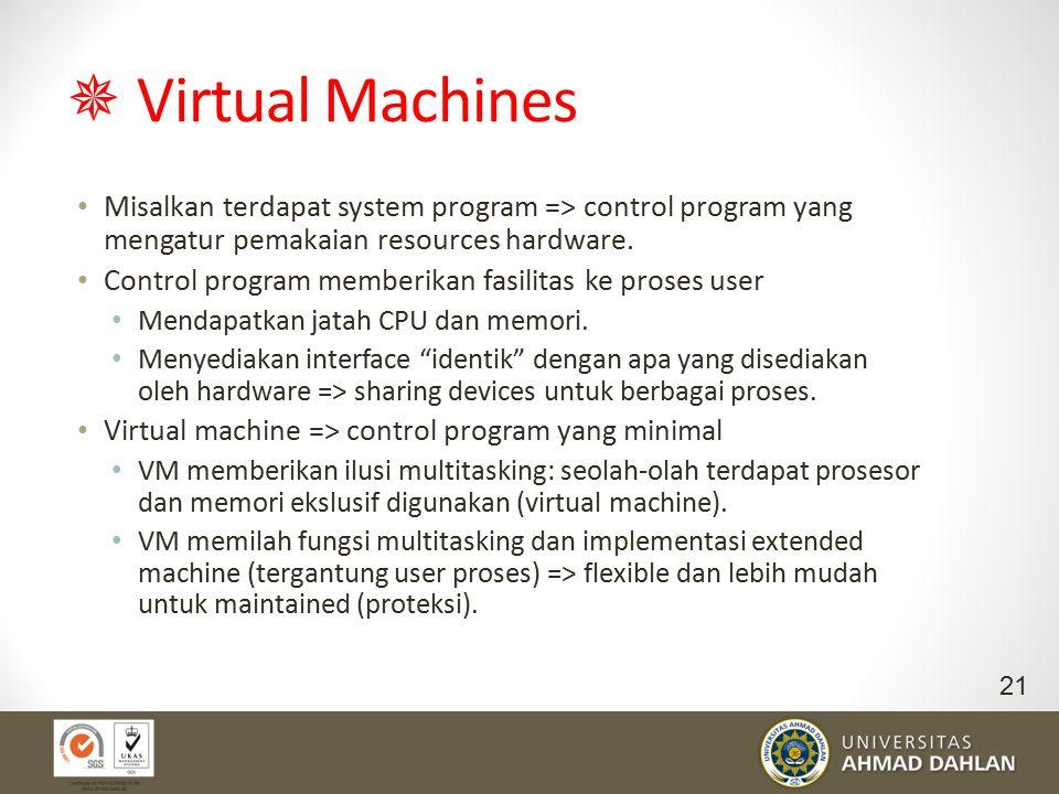  Virtual Machines Misalkan terdapat system program => control program yang mengatur pemakaian resources hardware.
