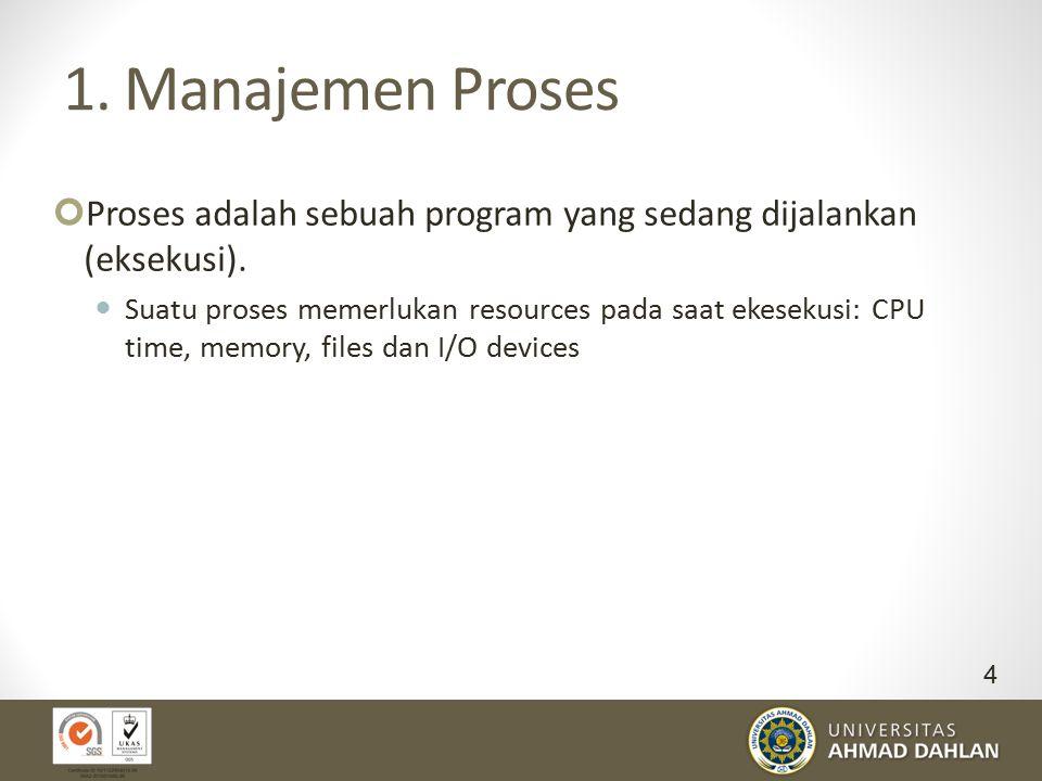 1. Manajemen Proses Proses adalah sebuah program yang sedang dijalankan (eksekusi).