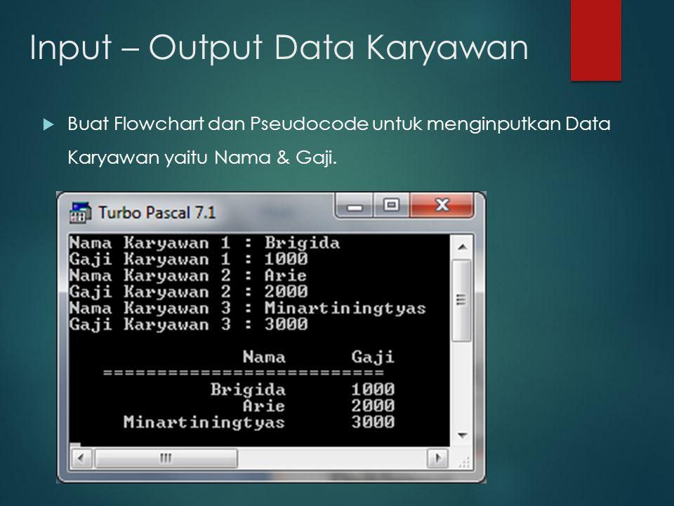 Input – Output Data Karyawan