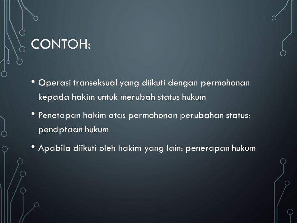 Contoh: Operasi transeksual yang diikuti dengan permohonan kepada hakim untuk merubah status hukum.