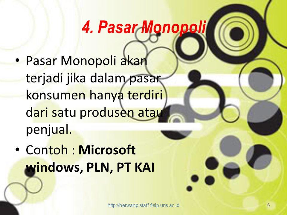 4. Pasar Monopoli Pasar Monopoli akan terjadi jika dalam pasar konsumen hanya terdiri dari satu produsen atau penjual.