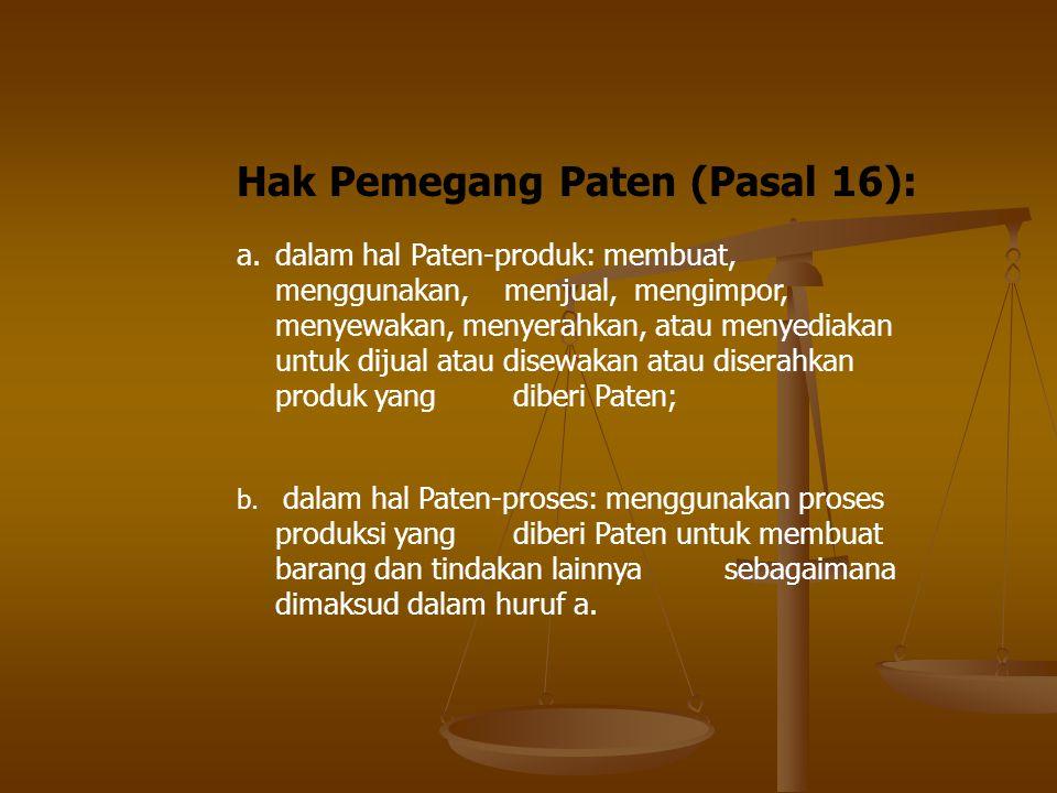 Hak Pemegang Paten (Pasal 16):