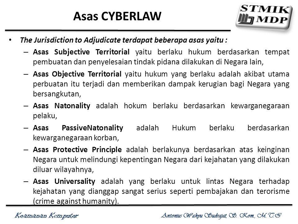 Asas CYBERLAW The Jurisdiction to Adjudicate terdapat beberapa asas yaitu :