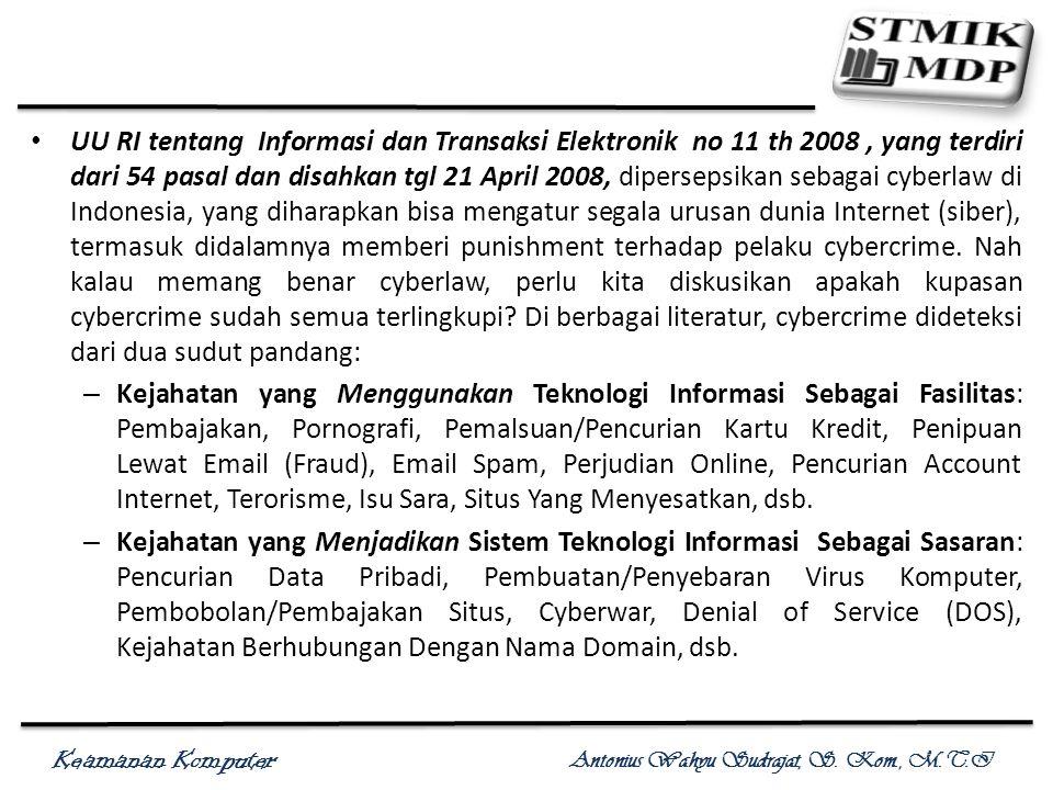 UU RI tentang Informasi dan Transaksi Elektronik no 11 th 2008 , yang terdiri dari 54 pasal dan disahkan tgl 21 April 2008, dipersepsikan sebagai cyberlaw di Indonesia, yang diharapkan bisa mengatur segala urusan dunia Internet (siber), termasuk didalamnya memberi punishment terhadap pelaku cybercrime. Nah kalau memang benar cyberlaw, perlu kita diskusikan apakah kupasan cybercrime sudah semua terlingkupi Di berbagai literatur, cybercrime dideteksi dari dua sudut pandang: