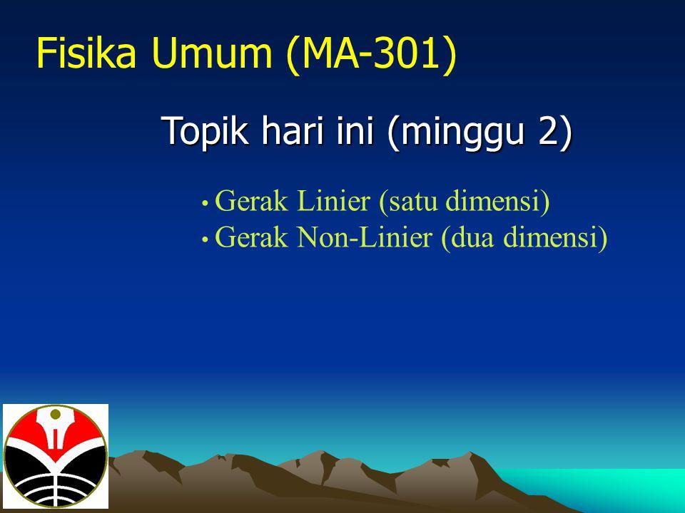 Fisika Umum (MA-301) Topik hari ini (minggu 2)