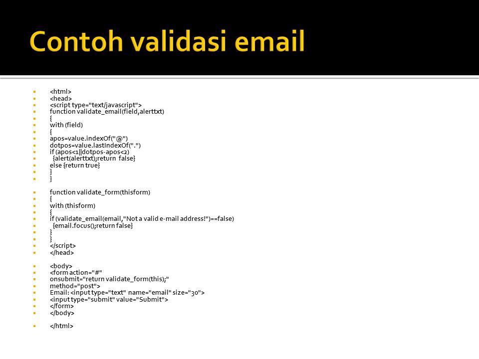 Contoh validasi email <html> <head>