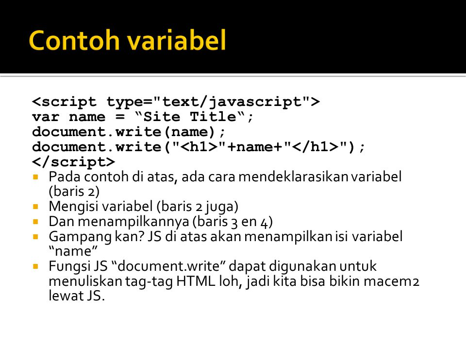 Contoh variabel <script type= text/javascript >