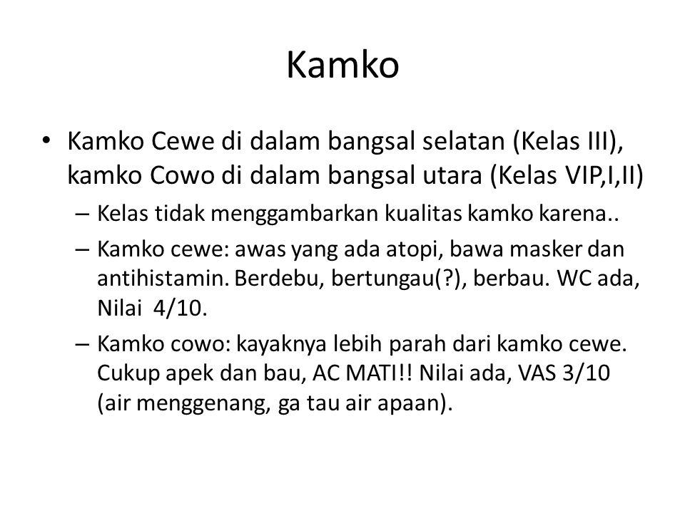 Kamko Kamko Cewe di dalam bangsal selatan (Kelas III), kamko Cowo di dalam bangsal utara (Kelas VIP,I,II)