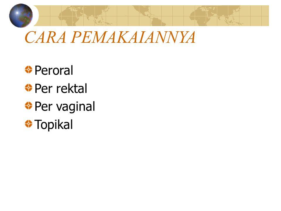 CARA PEMAKAIANNYA Peroral Per rektal Per vaginal Topikal