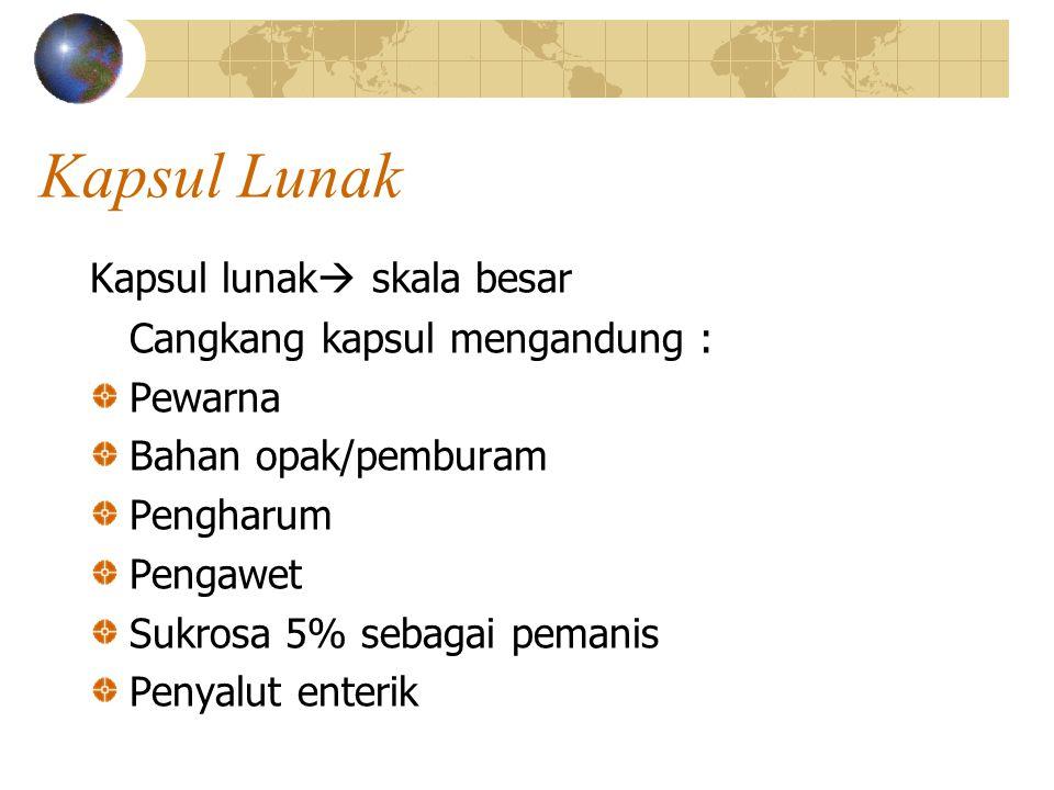 Kapsul Lunak Kapsul lunak skala besar Cangkang kapsul mengandung :