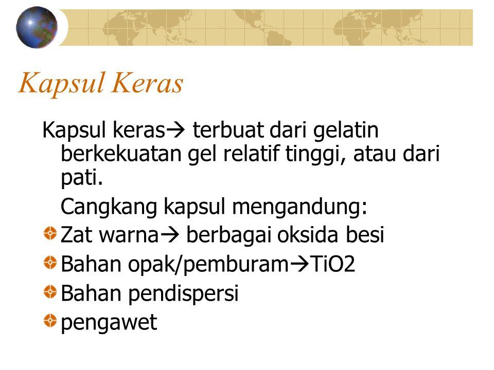 Kapsul Keras Kapsul keras terbuat dari gelatin berkekuatan gel relatif tinggi, atau dari pati. Cangkang kapsul mengandung: