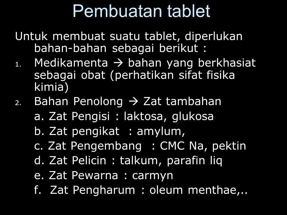 Pembuatan tablet Untuk membuat suatu tablet, diperlukan bahan-bahan sebagai berikut :