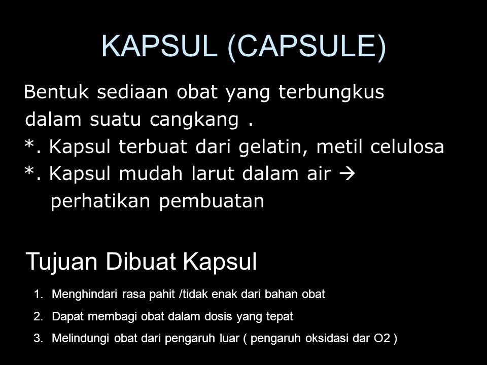 KAPSUL (CAPSULE) Tujuan Dibuat Kapsul
