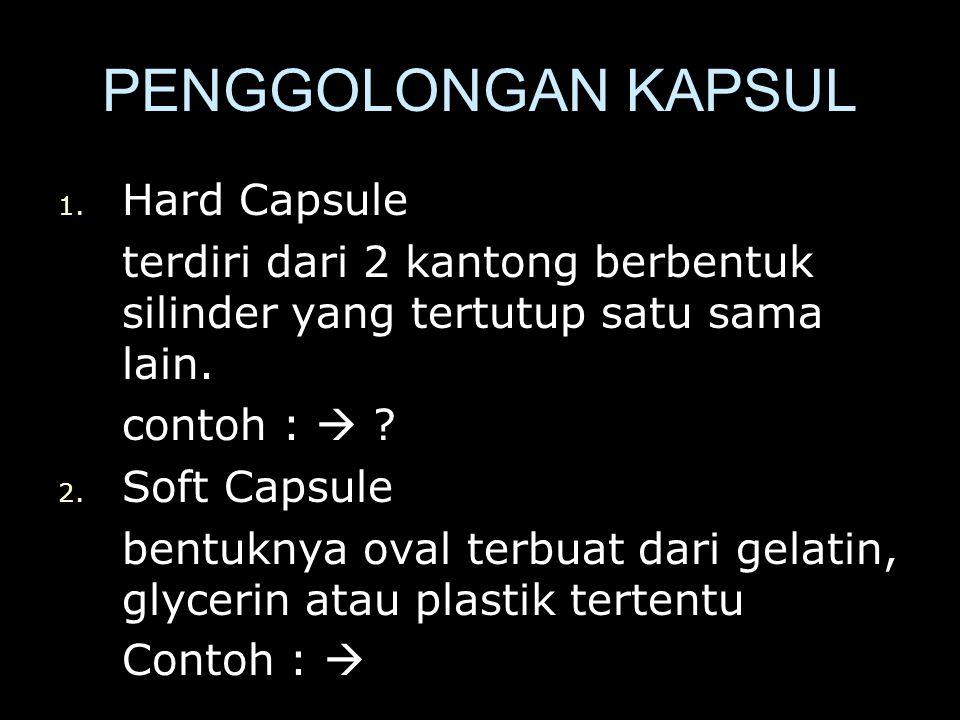 PENGGOLONGAN KAPSUL Hard Capsule