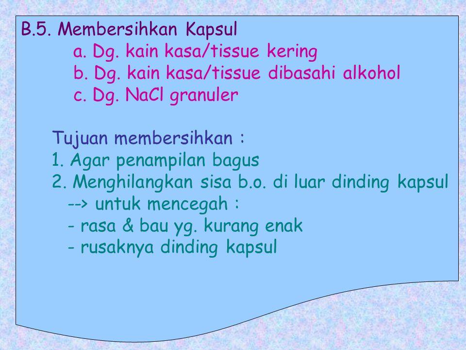 B. 5. Membersihkan Kapsul a. Dg. kain kasa/tissue kering b. Dg