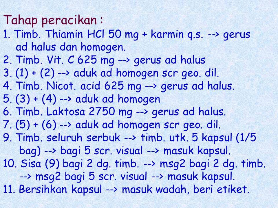 Tahap peracikan : 1. Timb. Thiamin HCl 50 mg + karmin q. s