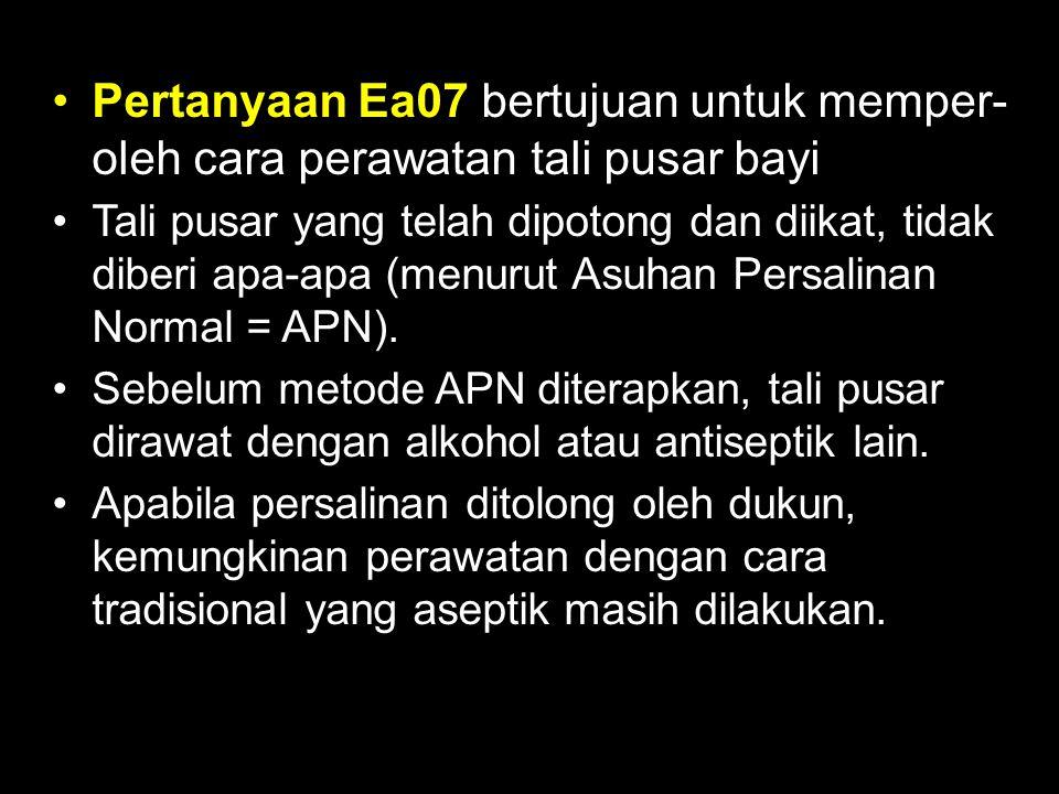 Pertanyaan Ea07 bertujuan untuk memper- oleh cara perawatan tali pusar bayi