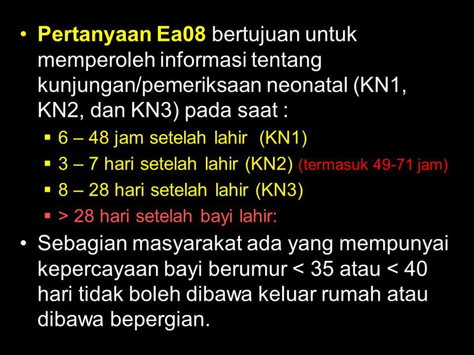 Pertanyaan Ea08 bertujuan untuk memperoleh informasi tentang kunjungan/pemeriksaan neonatal (KN1, KN2, dan KN3) pada saat :
