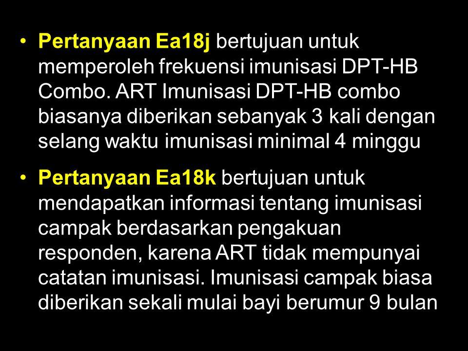 Pertanyaan Ea18j bertujuan untuk memperoleh frekuensi imunisasi DPT-HB Combo. ART Imunisasi DPT-HB combo biasanya diberikan sebanyak 3 kali dengan selang waktu imunisasi minimal 4 minggu