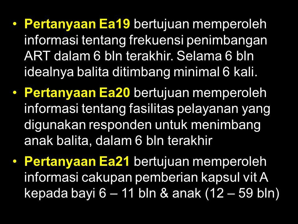 Pertanyaan Ea19 bertujuan memperoleh informasi tentang frekuensi penimbangan ART dalam 6 bln terakhir. Selama 6 bln idealnya balita ditimbang minimal 6 kali.