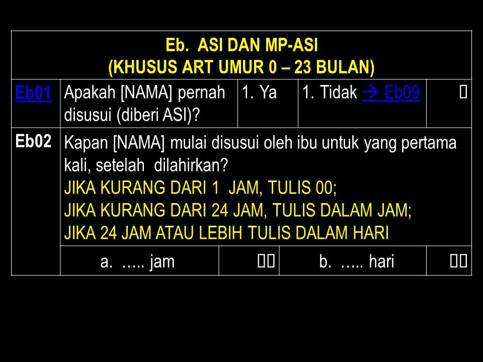 (KHUSUS ART UMUR 0 – 23 BULAN)