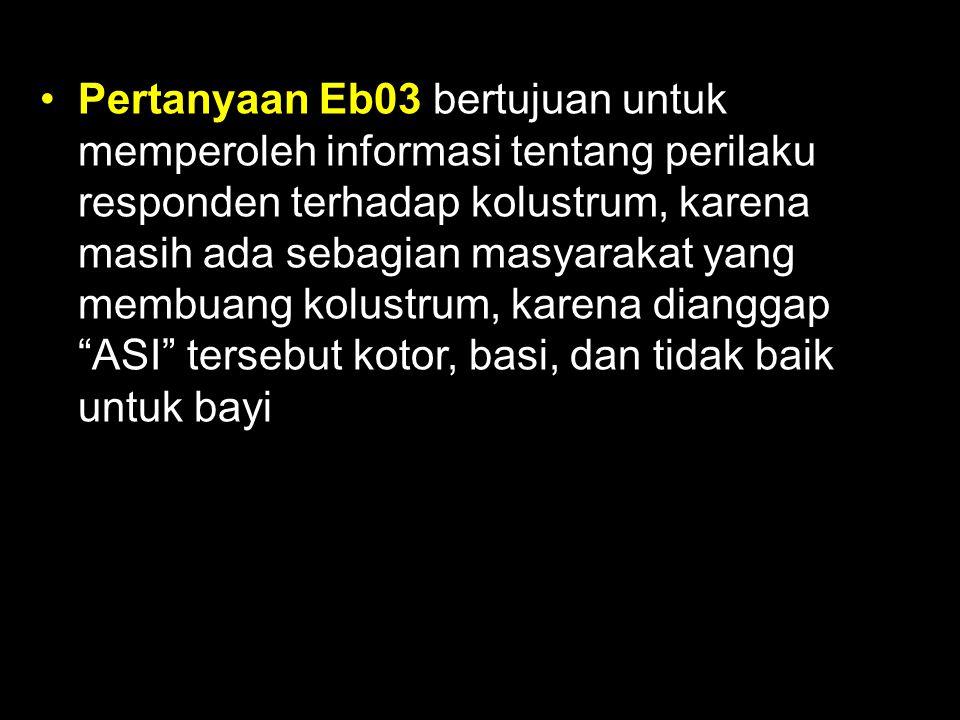 Pertanyaan Eb03 bertujuan untuk memperoleh informasi tentang perilaku responden terhadap kolustrum, karena masih ada sebagian masyarakat yang membuang kolustrum, karena dianggap ASI tersebut kotor, basi, dan tidak baik untuk bayi